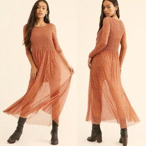 Free People Mesh Smocked Maxi Dress sheer NWT